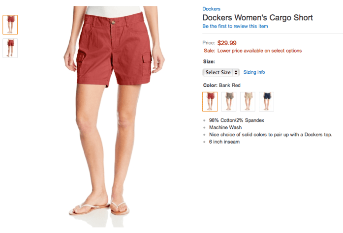Dockers Women's Cargo Short. Screenshot from Amazon.com.