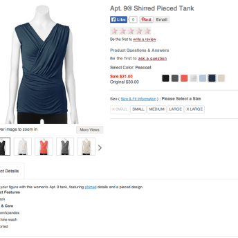 Kohl's Apt. 9 Shirred Pieced Tank. Screenshot from Kohls.com.