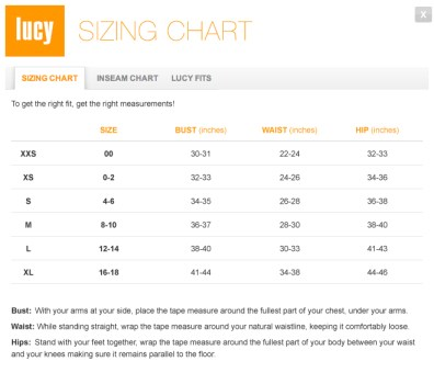 Lucy Activewear Size Chart from  Lucy.com.