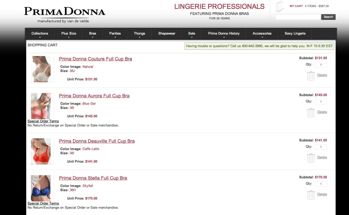 Prima Donna Shopping Shopping Cart. Screenshot from http://www.prima-donna-bras.com.