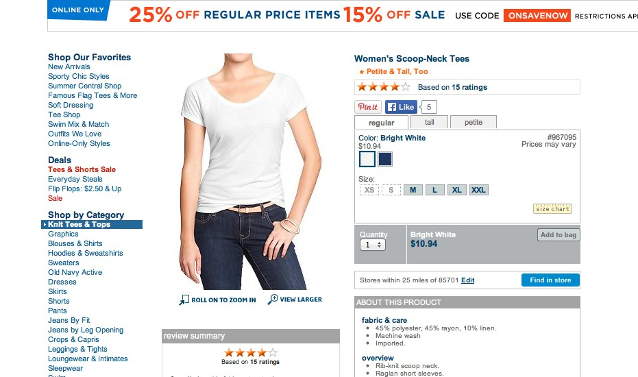 Old Navy Scoop-Neck Tee. Screenshot from oldnavy.com.