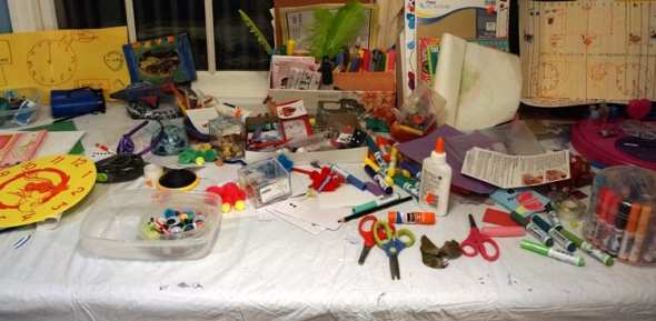 messy crafts table