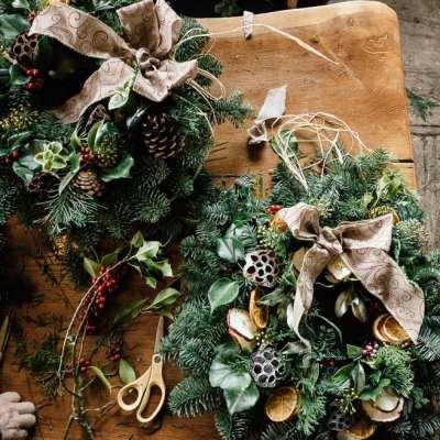 Christmas wreath workshop at Gravetye Manor
