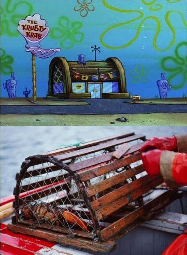 1. The Krusty Krab is actually a lobster trap.