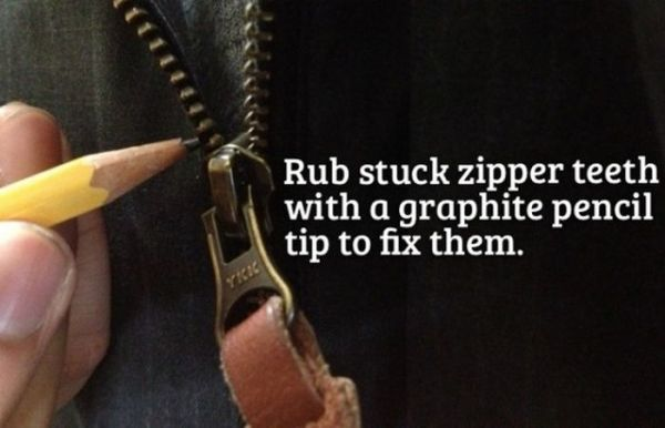 Rub stuck zipper teeth with a graphite pencil tip to fix them.