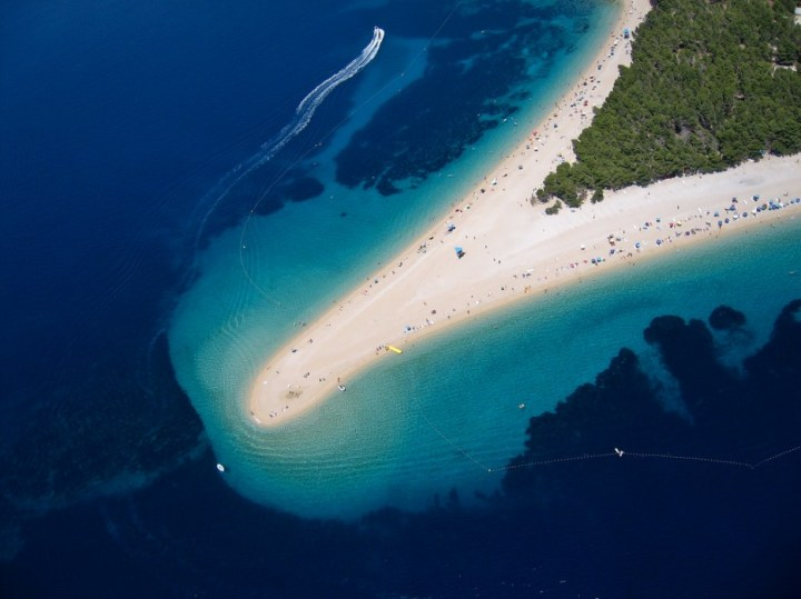 Golden Cape Croatia - This end of this narrow beach will change the direction it points depending on the winds.
