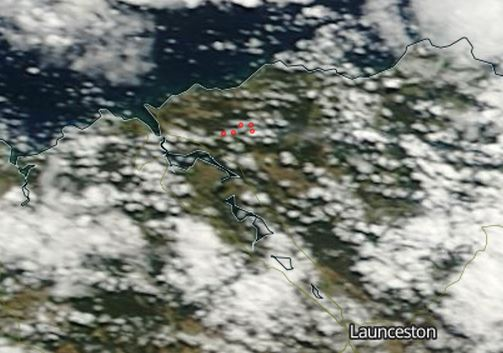 Map  fire in northern Tasmania March 4  2015   Wildfire Today map fire George Town  Tasmania