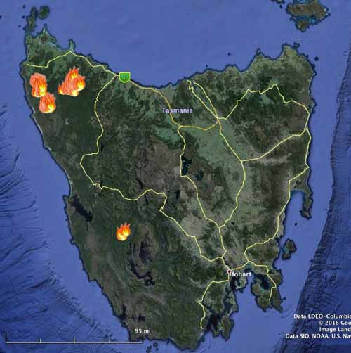 Bushfires continue to burn in Tasmania   Wildfire Today Bushfires Tasmania 2 13 2016 map