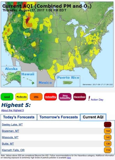 Heavy wildfire smoke in some areas of California, Oregon, and Montana - Wildfire Today