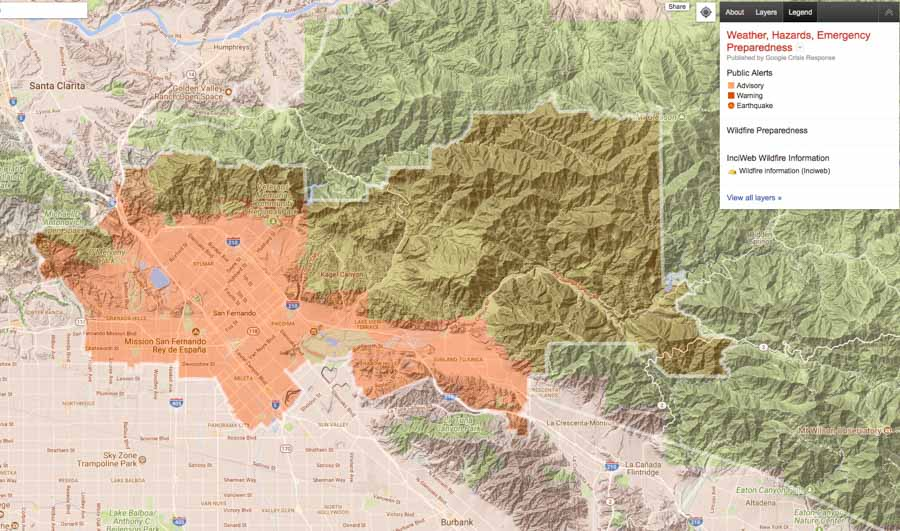 Creek Fire forces closure of 210 freeway in Los Angeles   Wildfire Today Nixle alert map Creek Fire