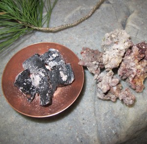 Charcoal Chunks & Dried Pine Resin Pieces