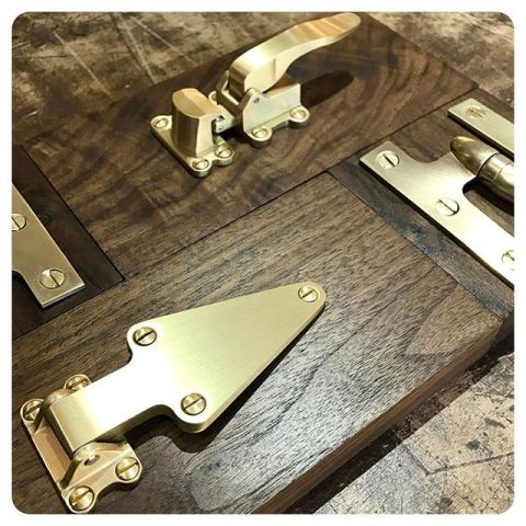 satin brass mini ice box latches