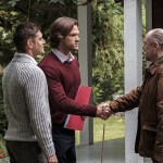 """Supernatural -- """"American Nightmare"""" -- SN1204a_0060.jpg -- Pictured (L-R): Jensen Ackles as Dean, Jared Padalecki as Sam and William MacDonald as Abraham Peterson -- Photo: Robert Falconer/The CW -- © 2016 The CW Network, LLC. All Rights Reserved"""