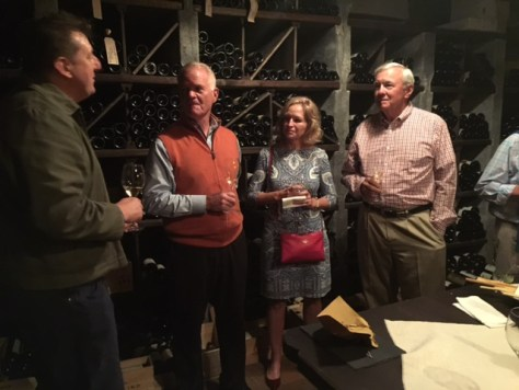 Marchesi di Grésy cellar master, Jeffrey Chilcott, sharing his vast knowledge of Piemonte and its wine and food with Rusty and Susan Richardson and Bruce Kiely.