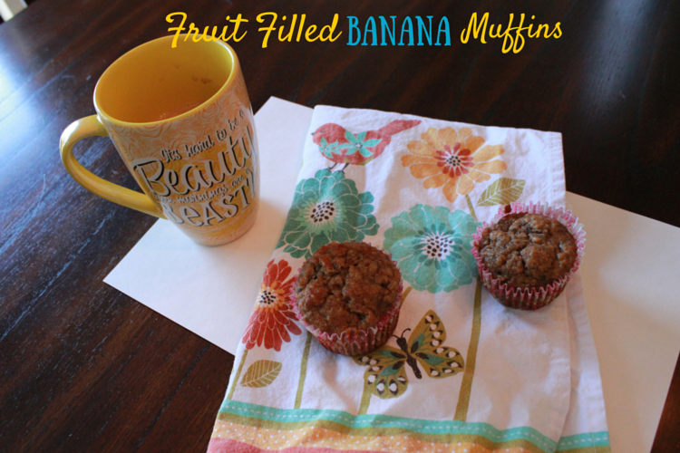 Fruit Filled Banana Muffins {Plus $50 Giveaway}