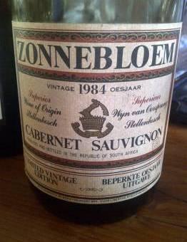 Zonnebloem Cabernet Sauvignon 1984