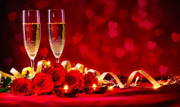 Valentines day background with champagne and roses