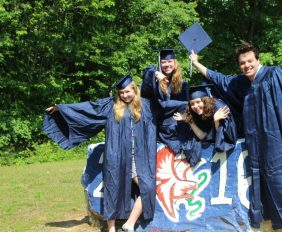 The Wingspan editors-in-chief celebrate graduation. Photo by Annalyse Wilkins