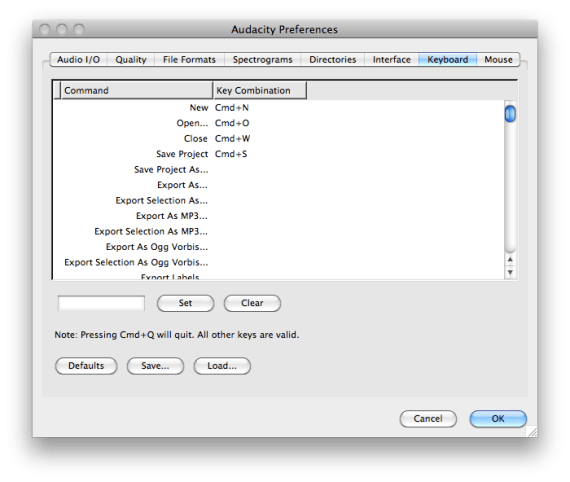 Audacity Keyboard Shortcuts Preferences