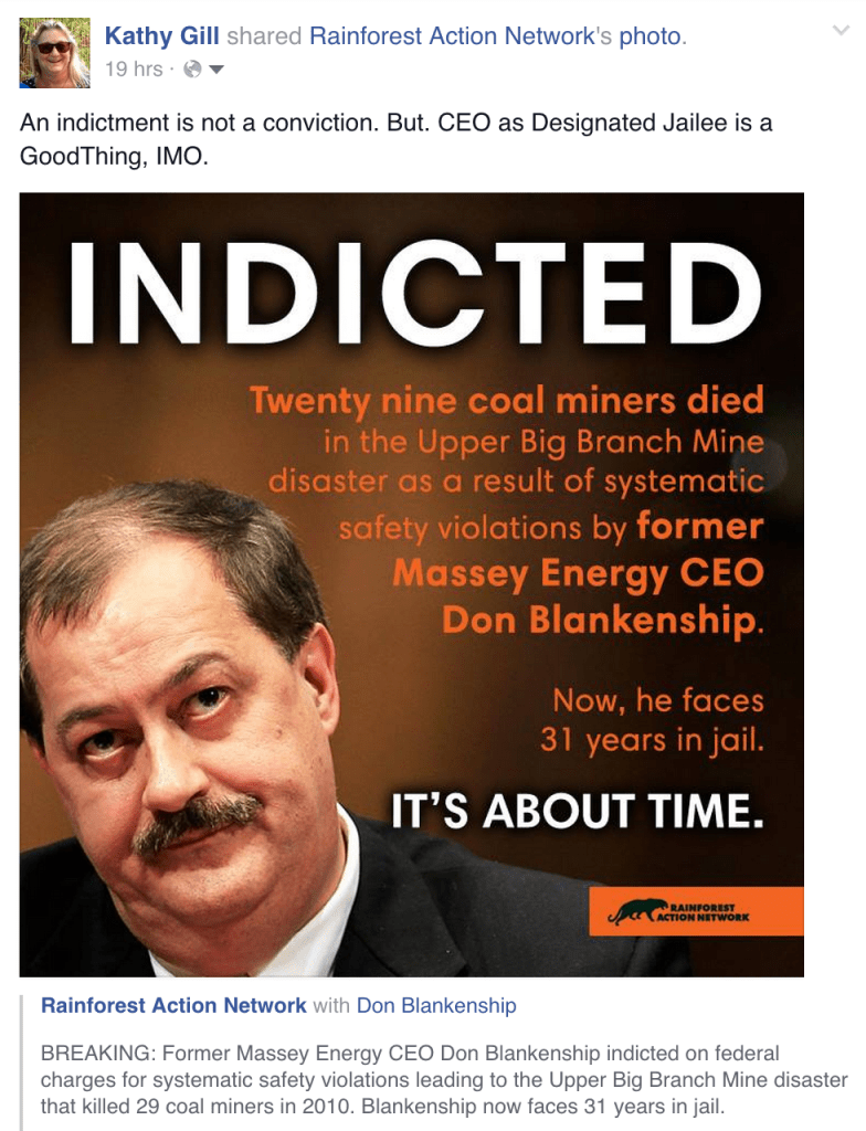 Facebook: Don Blankenship Indicted
