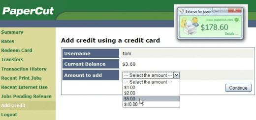 PaperCut Add Credit