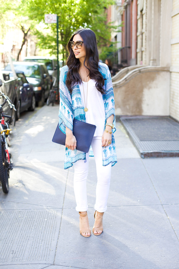 Rebecca Taylor White Tank, James Jeans White Skinny Jeans, How to Wear Kimonos, Cute Kimono Outfits