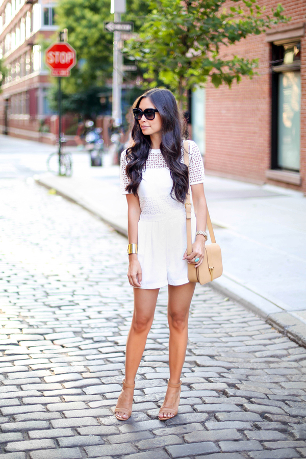 White silk lace romper