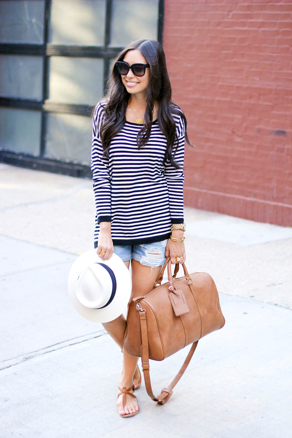 Weekend Getway Outfits, Sole Society Weekender Bag, Joie Striped Sweter
