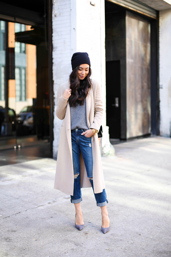 Boyfriend jeans with camel coat and beanie