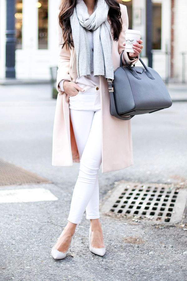 White skinny jeans, blush coat, grey pumps