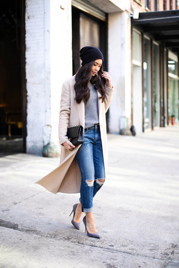 Long camel coat with distressed boyfriend jeans