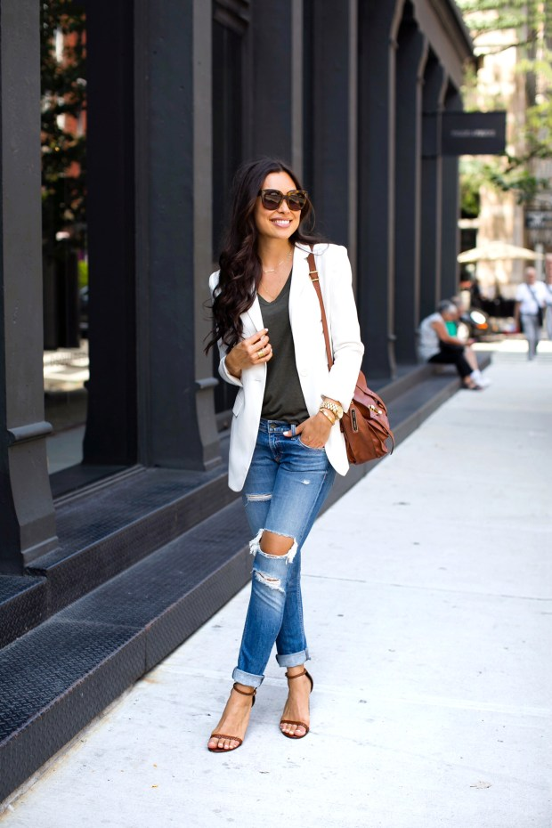 White blazer + distressed jeans