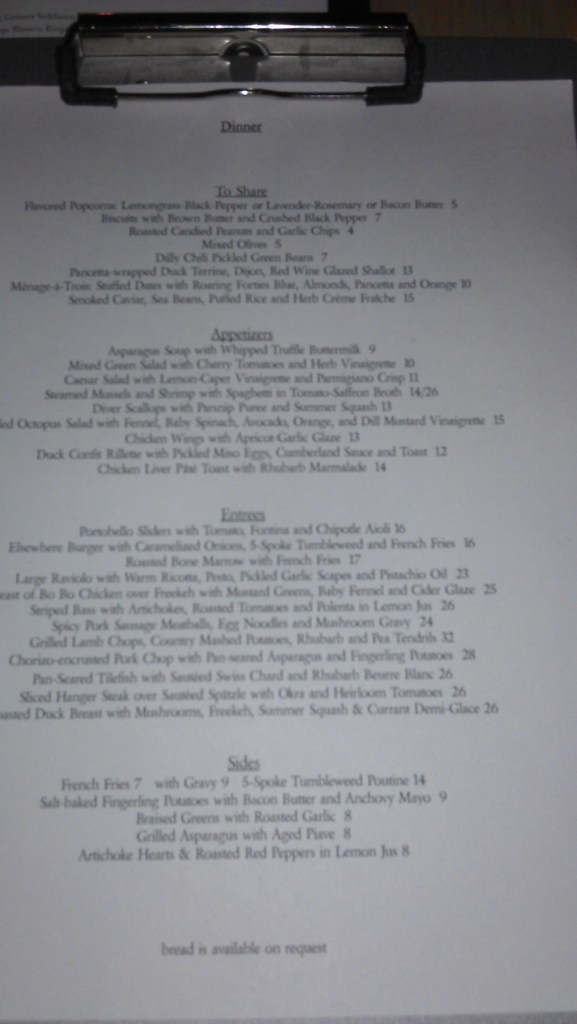Elsewhere's old menu