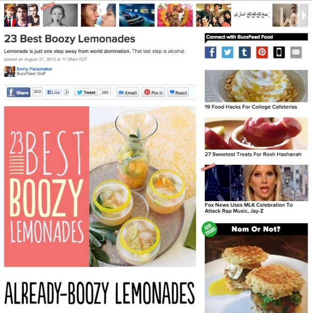 Buzzfeed Boozy Lemonades