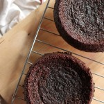 Gluten-Free Almond Chocolate Layer Cake with Roasted Plums