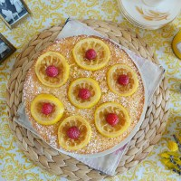 Whole Wheat Lemon Layer Cake with Lemon Rosemary Syrup & Candied Lemons