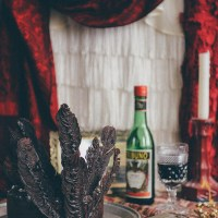 A Flapper Inspired Red Wine & Raspberry Chocolate Cake with Chocolate Feathers