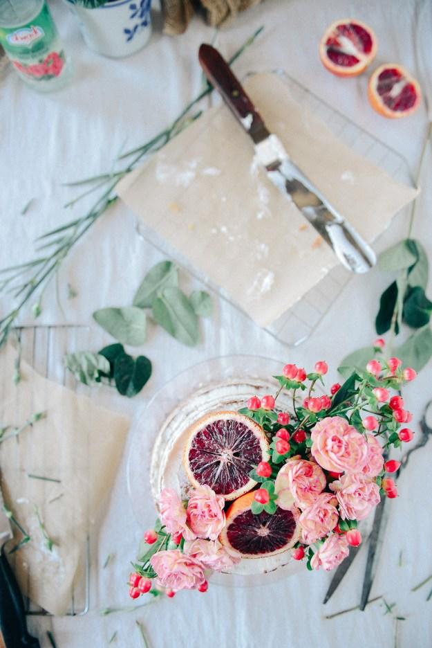 Whole Grain Blood Orange Rose Water Cake // www.WIthTheGrains.com