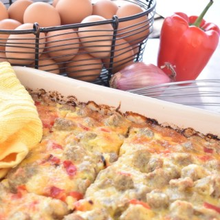 Sausage and Roasted Red Pepper Egg Bake