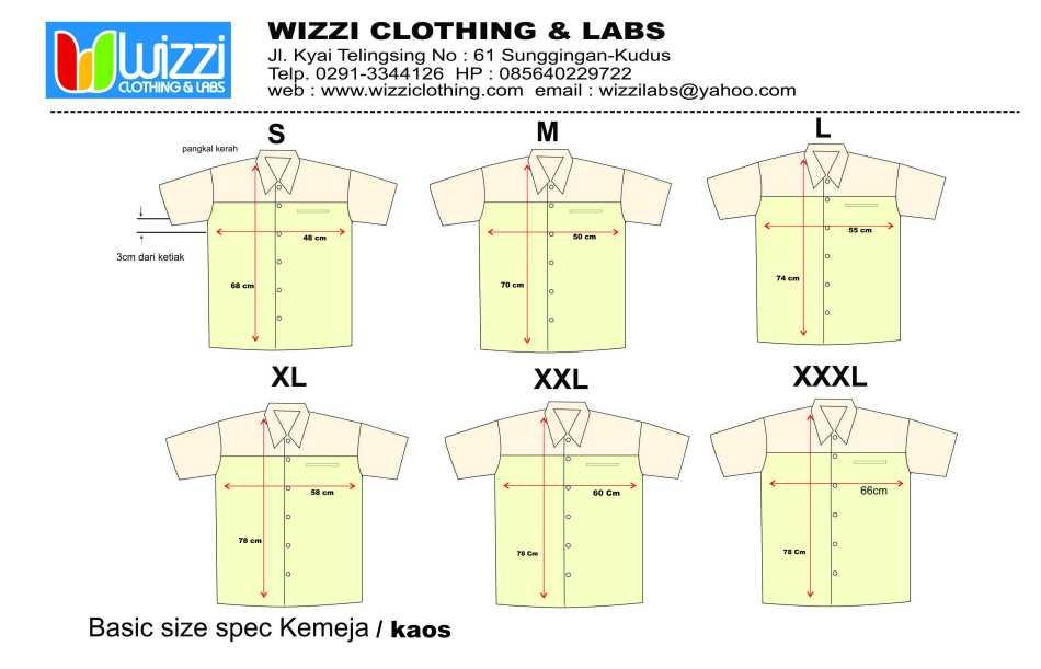 size kaos wizzi