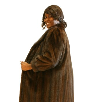 Brown Mink Female Pelt Plus Size Coat 016777