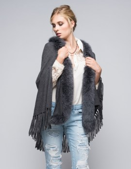 Cashmere Wrap Fox Trim