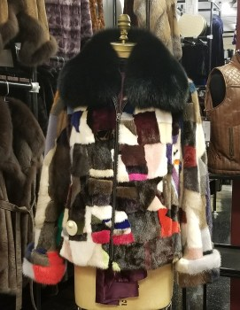 multi-color mink jacket w/fox