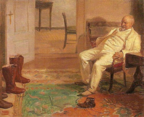 Anna Ancher, The new hunting boots, 1903; Skagens Museum