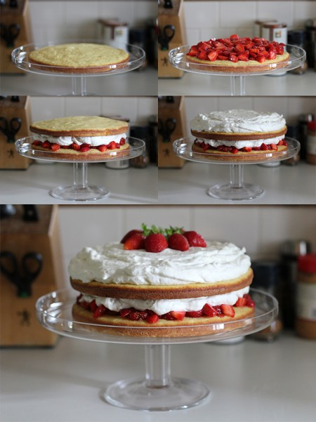 Strawberries and Cream Cake: Assembly