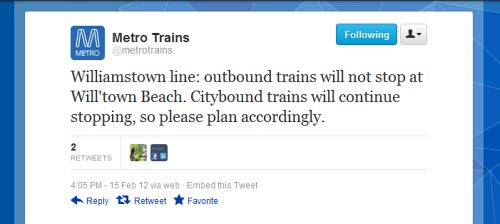 Twitter message form Metro Trains: 'Williamstown line: outbound trains will not stop at Will'town Beach. Citybound trains will continue stopping, so please plan accordingly.'