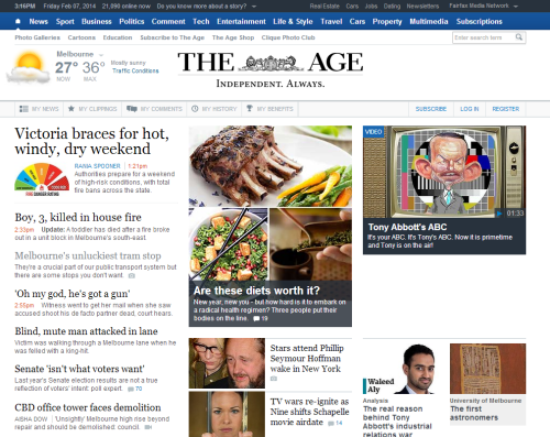 Front page of The Age website, February 07 2014