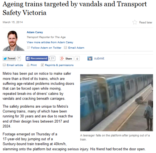 Article on Comeng train doors: The Age, March 15, 2014