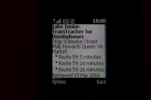 Using 'Jake Junior' to access TramTracker on a dumbphone