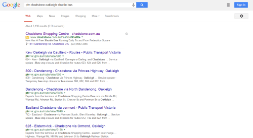 Empty search results for 'ptv bus chadstone oakleigh shuttle'